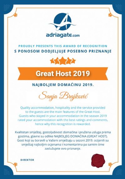 Sanja Brajković - Great Host 2019 ( Villa Strnj )